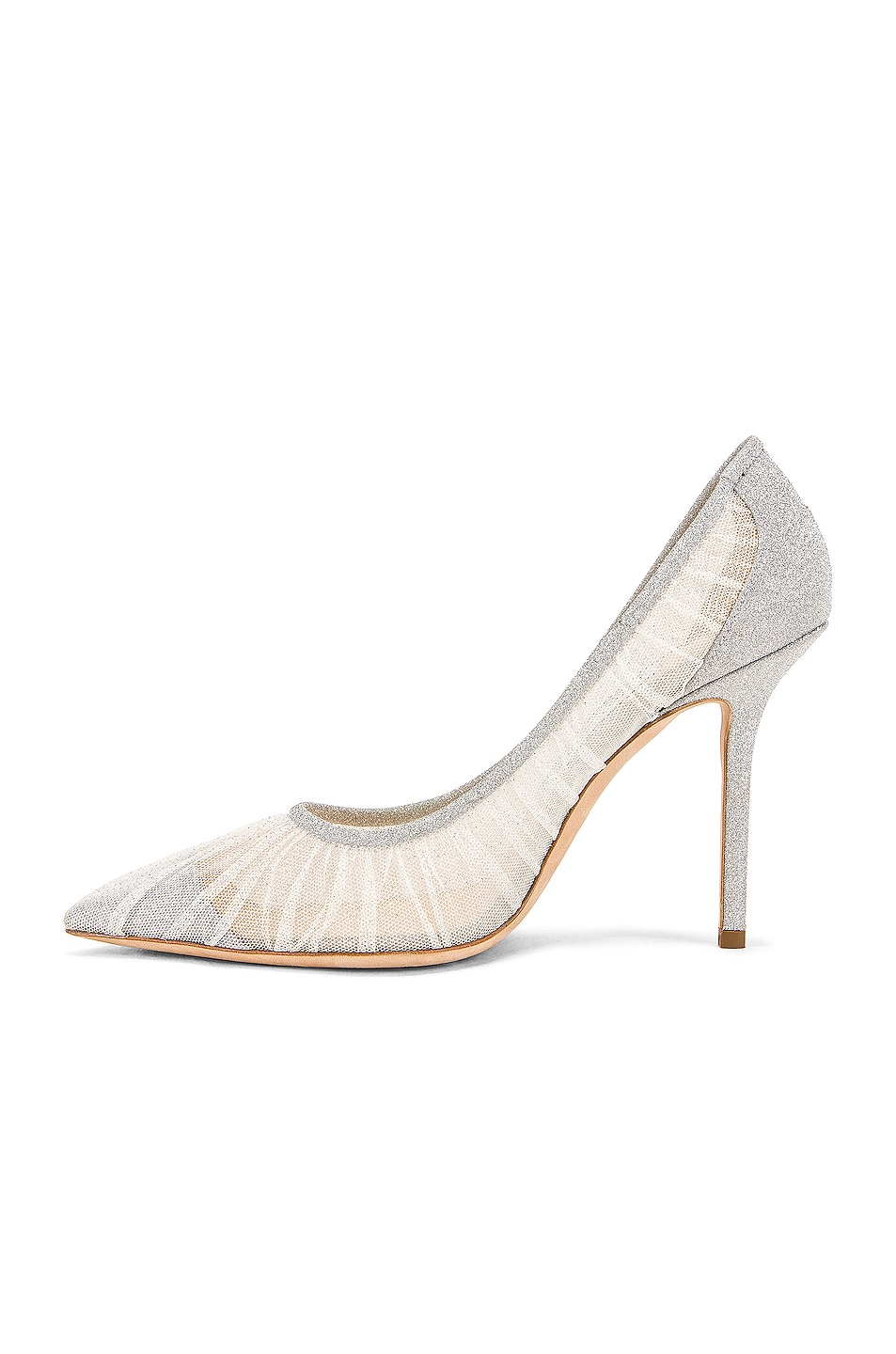 Image 5 of Jimmy Choo Love 100 Fine Glitter Heel in Ivory & Silver