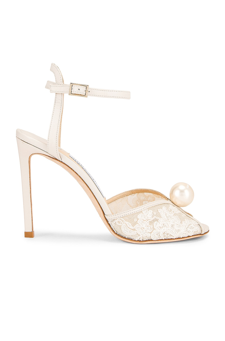 Image 1 of Jimmy Choo Sacora 100 Floral Lace with Pearl Sandal in White