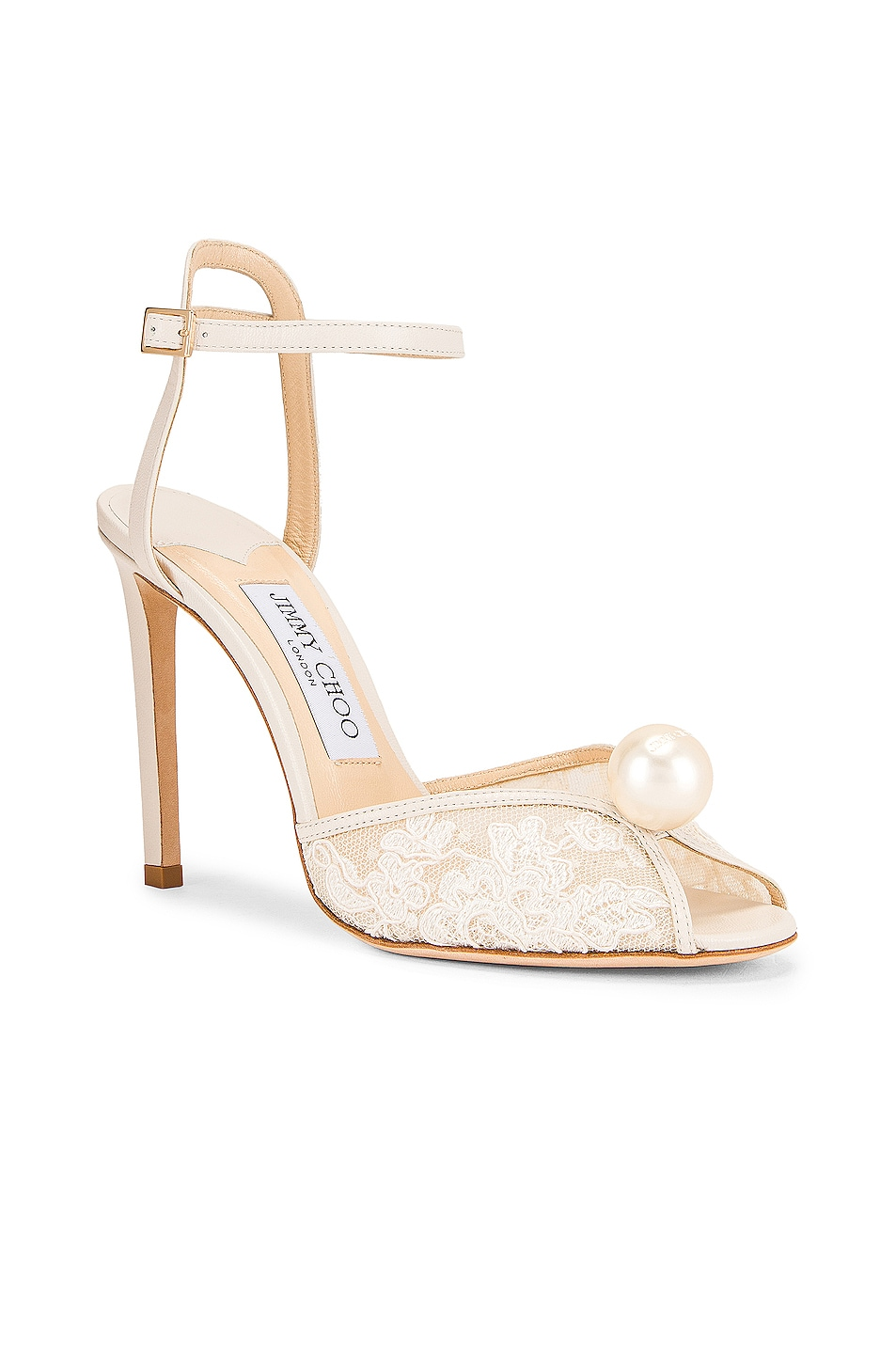 Image 2 of Jimmy Choo Sacora 100 Floral Lace with Pearl Sandal in White