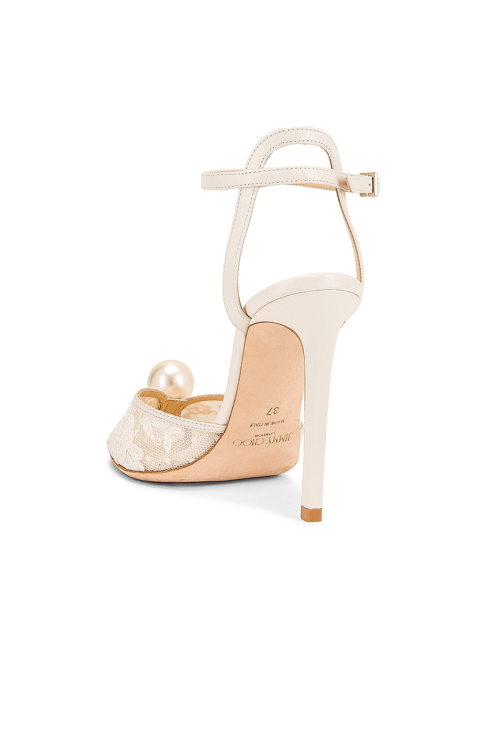 Image 3 of Jimmy Choo Sacora 100 Floral Lace with Pearl Sandal in White