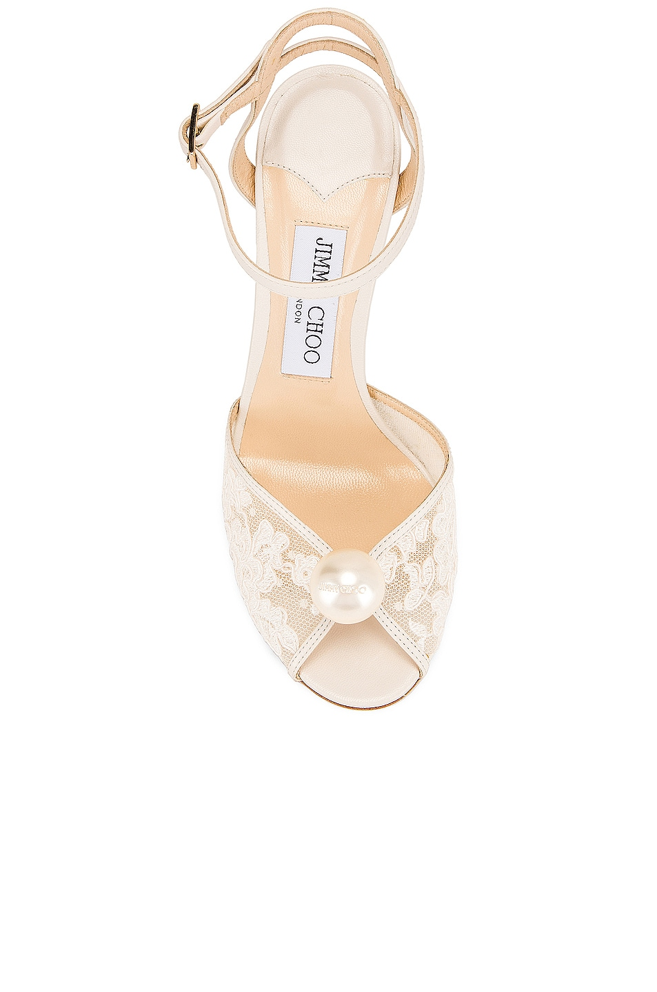 Image 4 of Jimmy Choo Sacora 100 Floral Lace with Pearl Sandal in White