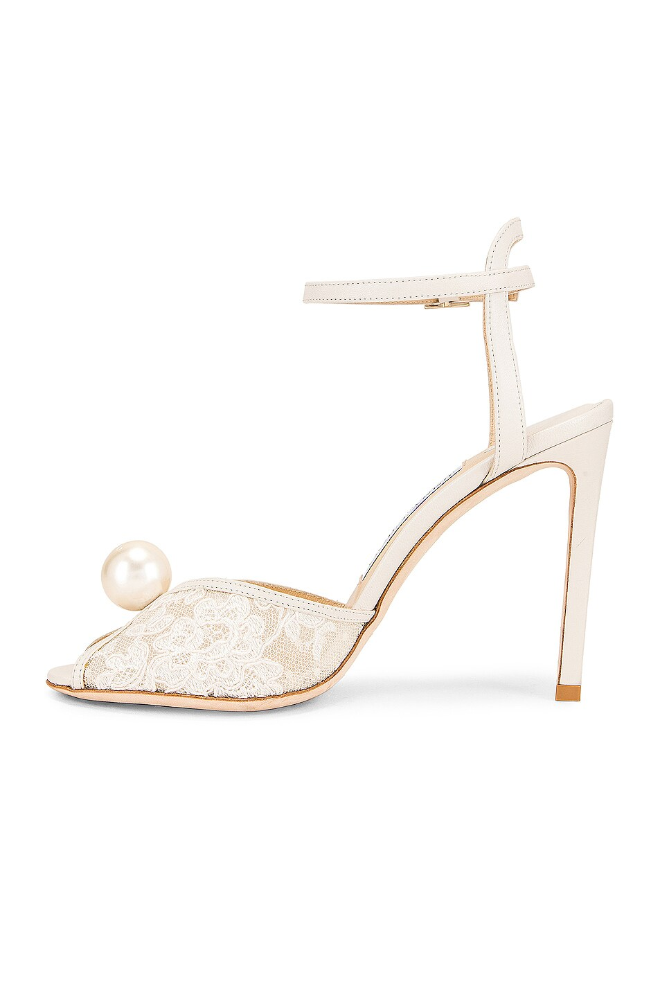 Image 5 of Jimmy Choo Sacora 100 Floral Lace with Pearl Sandal in White