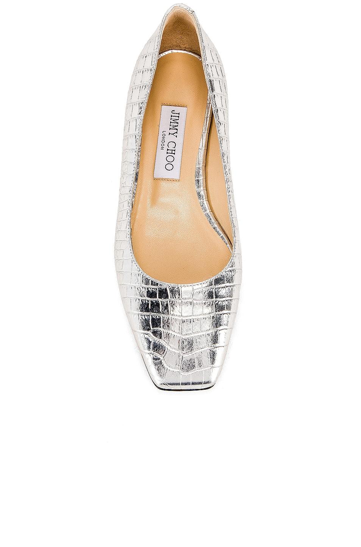 Image 4 of Jimmy Choo Mirele Metallic Croc Embossed Leather Flat in Silver