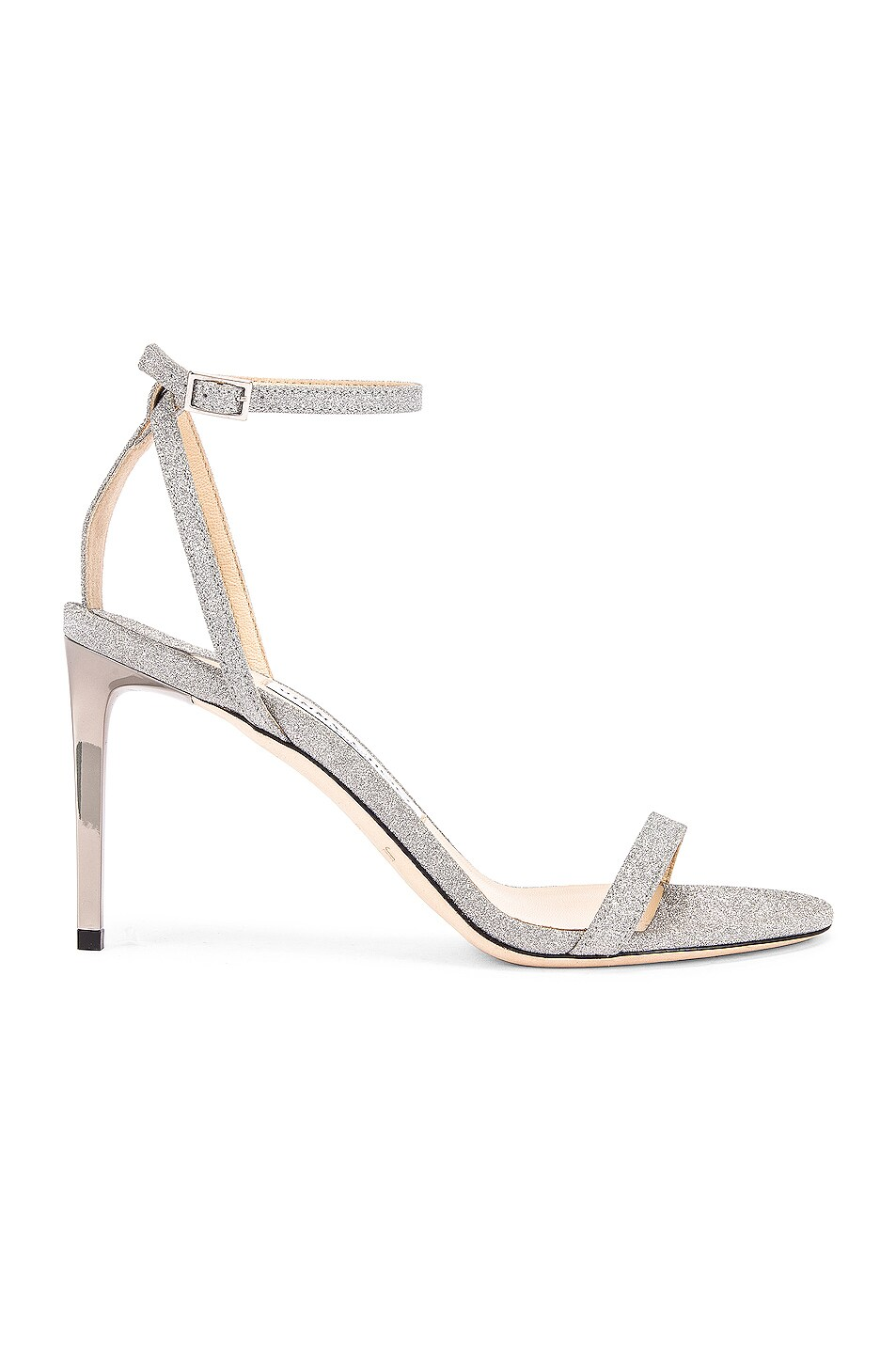 Image 1 of Jimmy Choo Minny 85 Fine Glitter Sandal in Silver