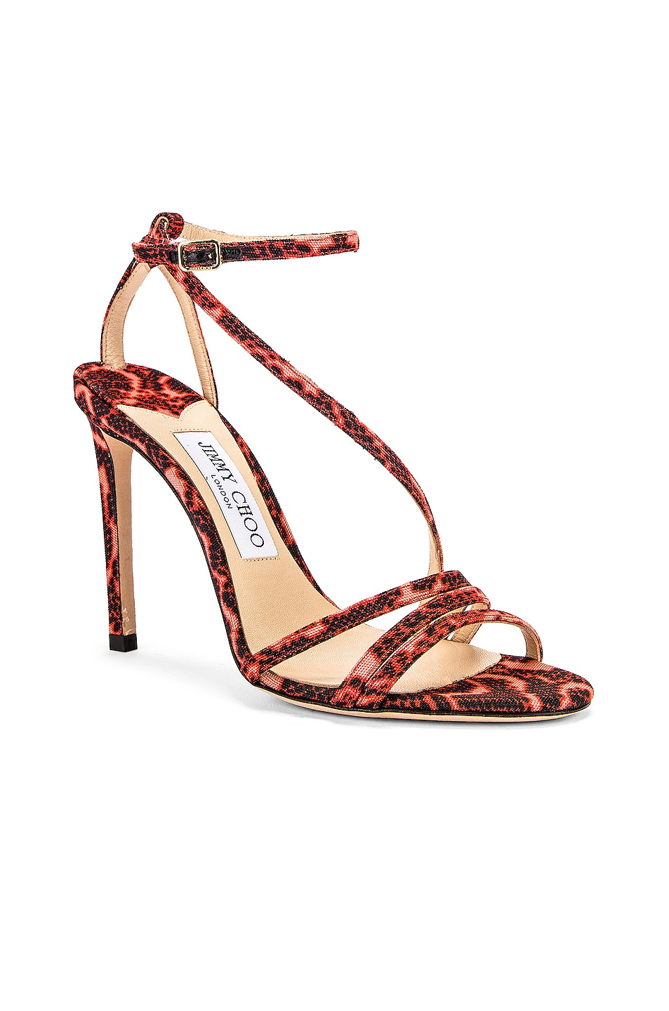 Image 2 of Jimmy Choo Tesca 100 Sandal in Mandarin Red Mix