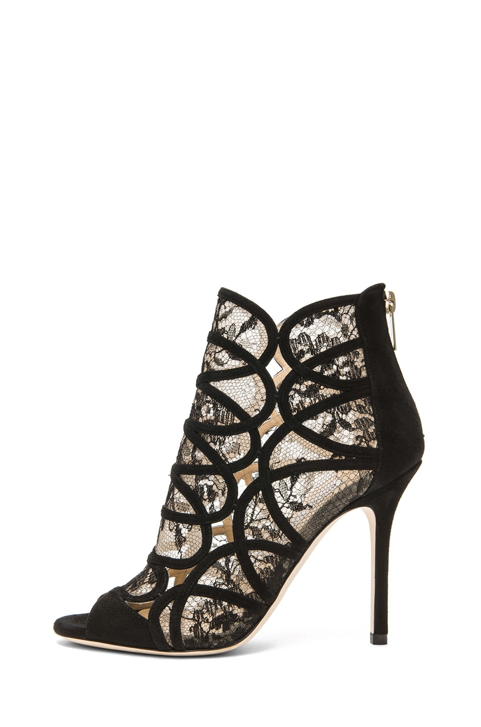 Image 1 of Jimmy Choo Fauna Suede Lace Booties in Black