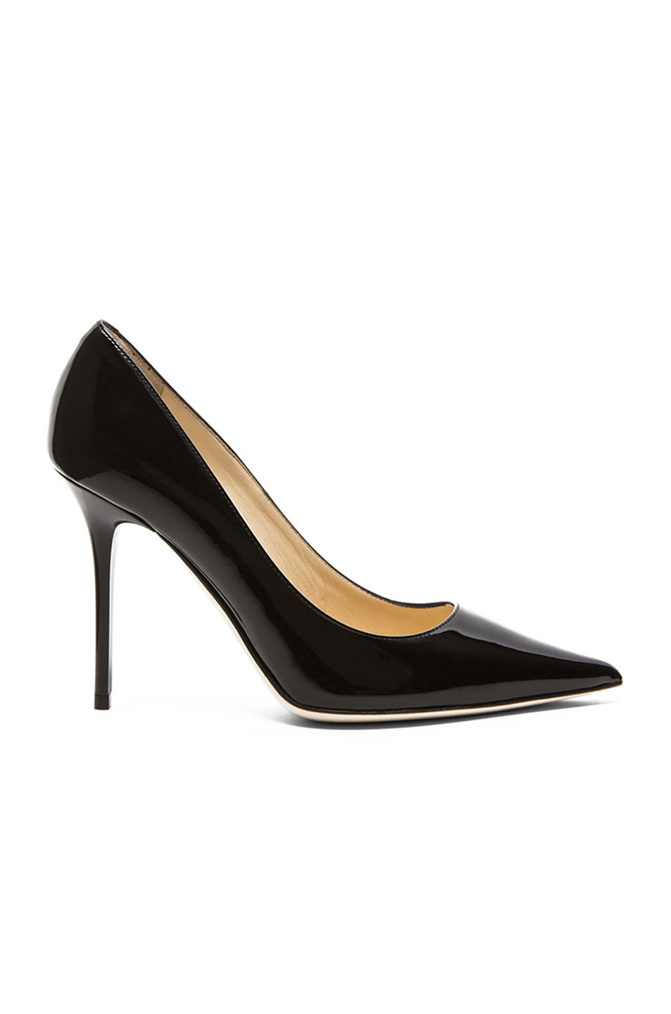 Image 1 of Jimmy Choo Abel Pointed Patent Leather Pumps in Black Patent