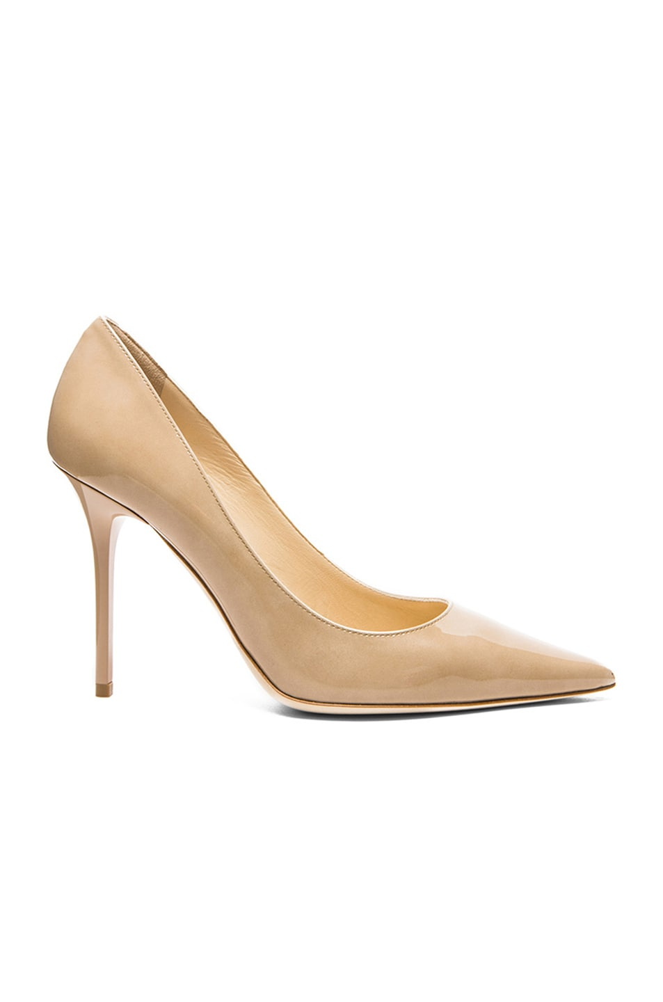 Image 1 of Jimmy Choo Abel Pointed Patent Leather Pumps in Nude