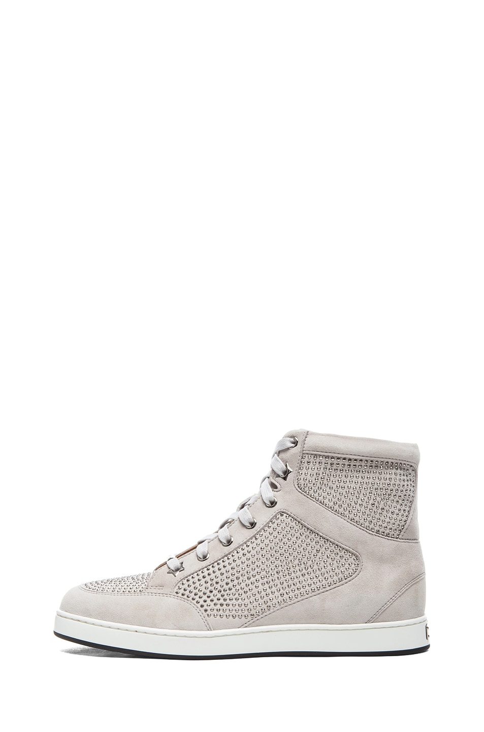Image 1 of Jimmy Choo Tokyo High Top Suede Trainers in Silver