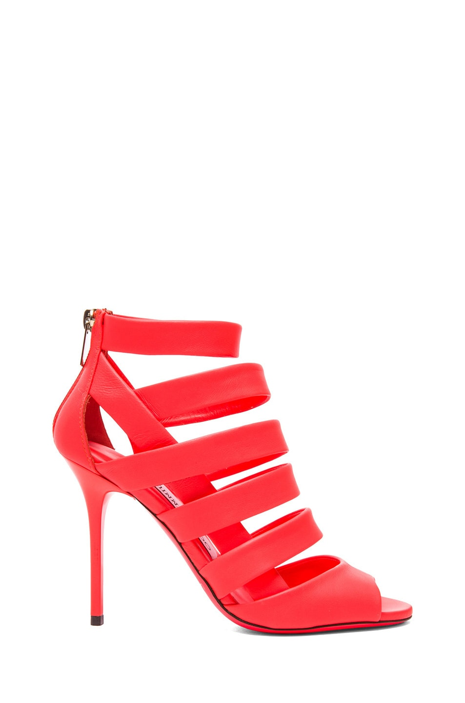 Image 1 of Jimmy Choo Dame Nappa Leather Heeled Sandals in Neon Flame