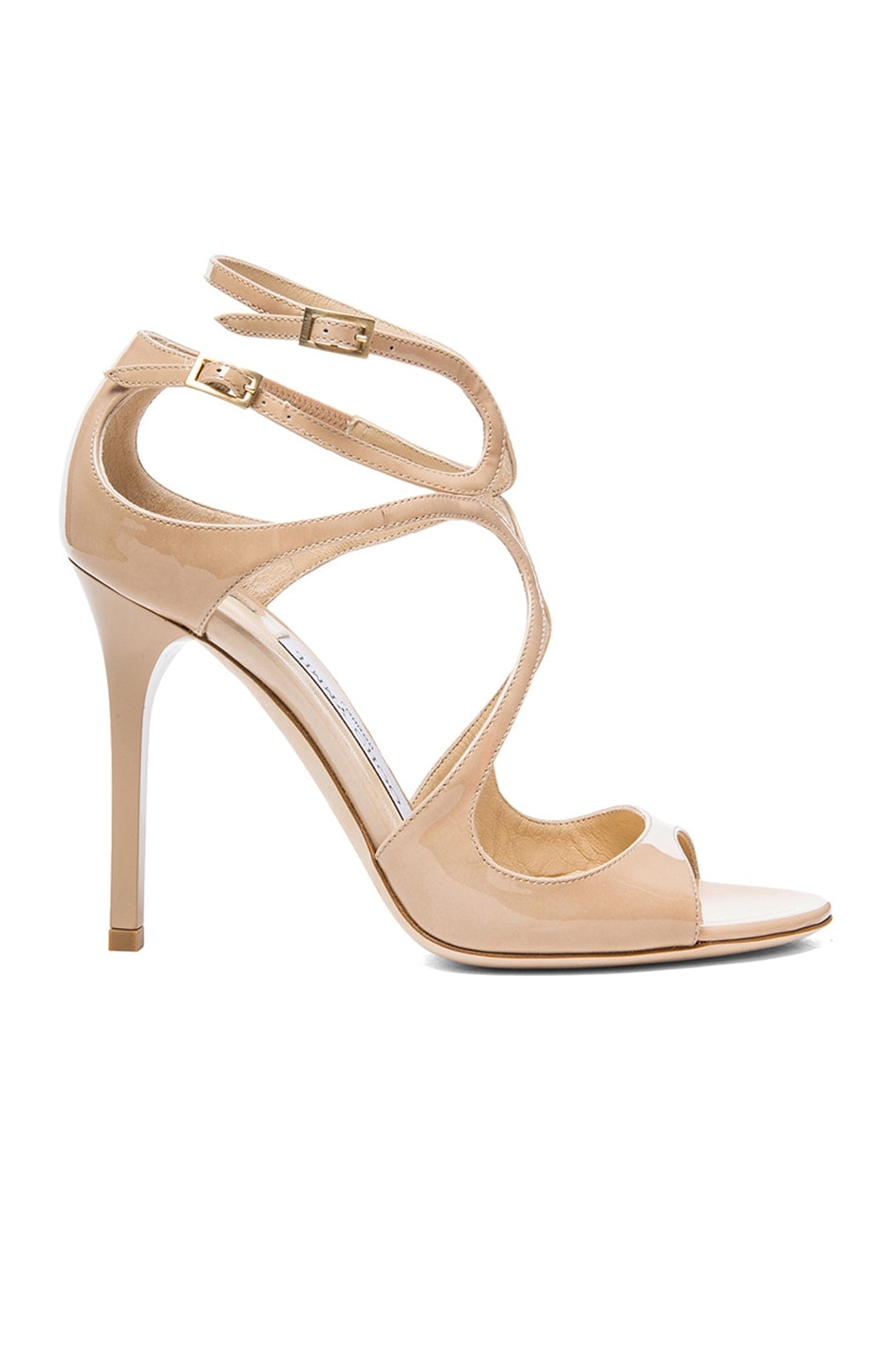 Image 1 of Jimmy Choo Lang Leather Heeled Sandals in Nude