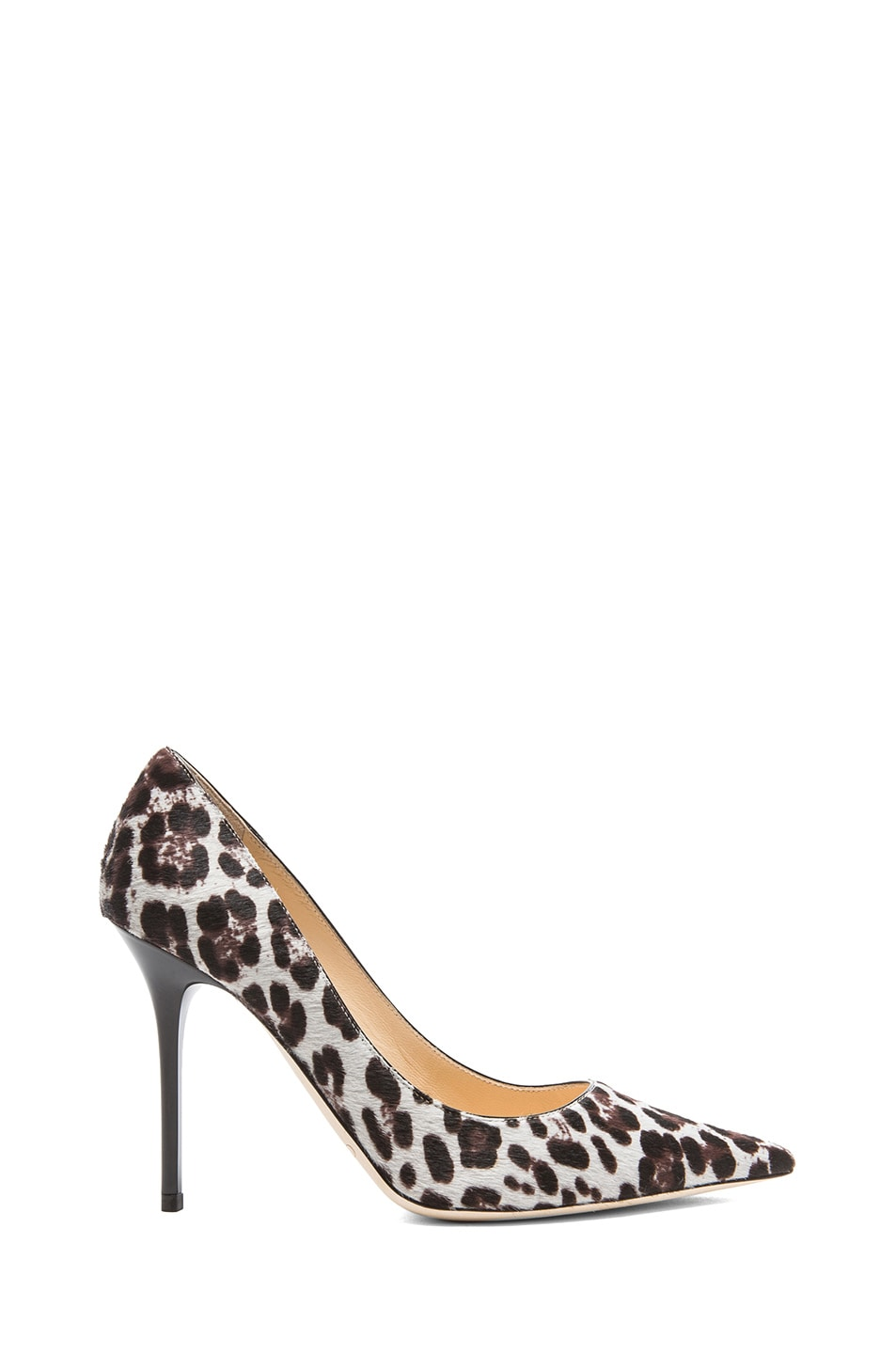 Image 1 of Jimmy Choo Leopard Abel Pointed Calf Hair Pumps in Quartz