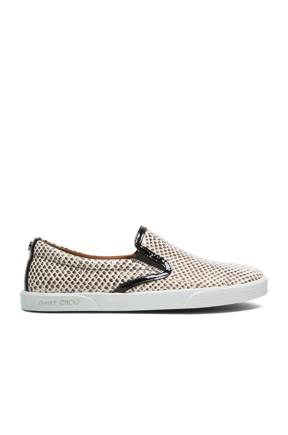 Image 1 of Jimmy Choo Demi Embossed Leather Slip-Ons in Natural