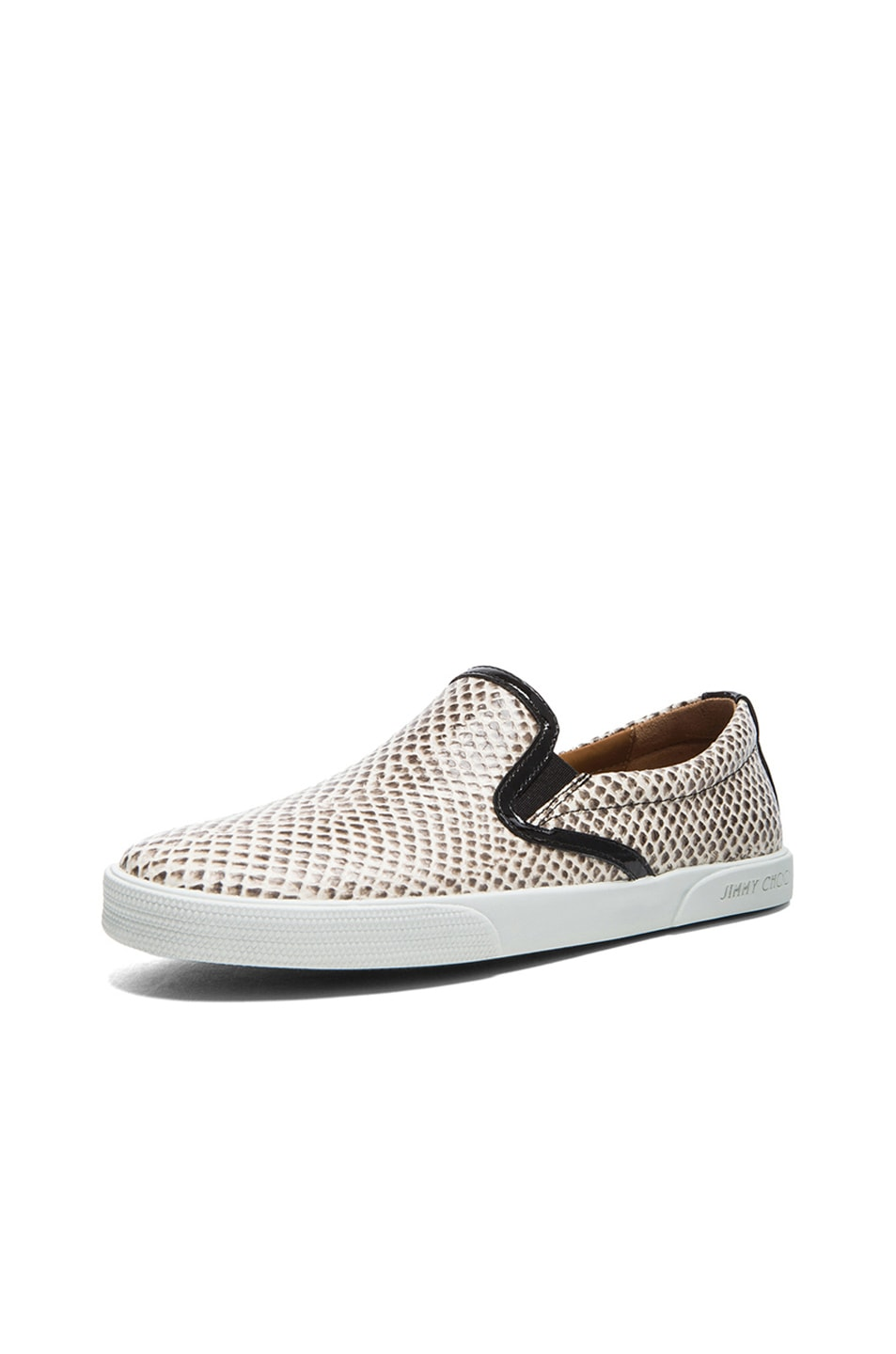 Image 2 of Jimmy Choo Demi Embossed Leather Slip-Ons in Natural