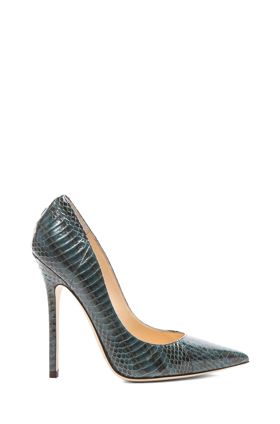 Image 1 of Jimmy Choo Glossy Panelled Anouk Elaphe Snakeskin Pumps in Evergreen