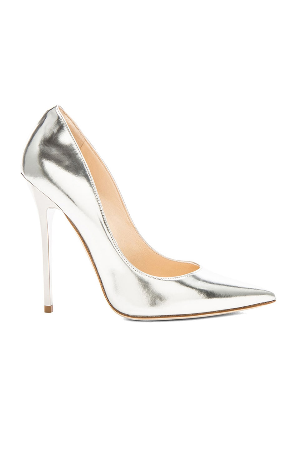Image 1 of Jimmy Choo Anouk Leather Pumps in Silver