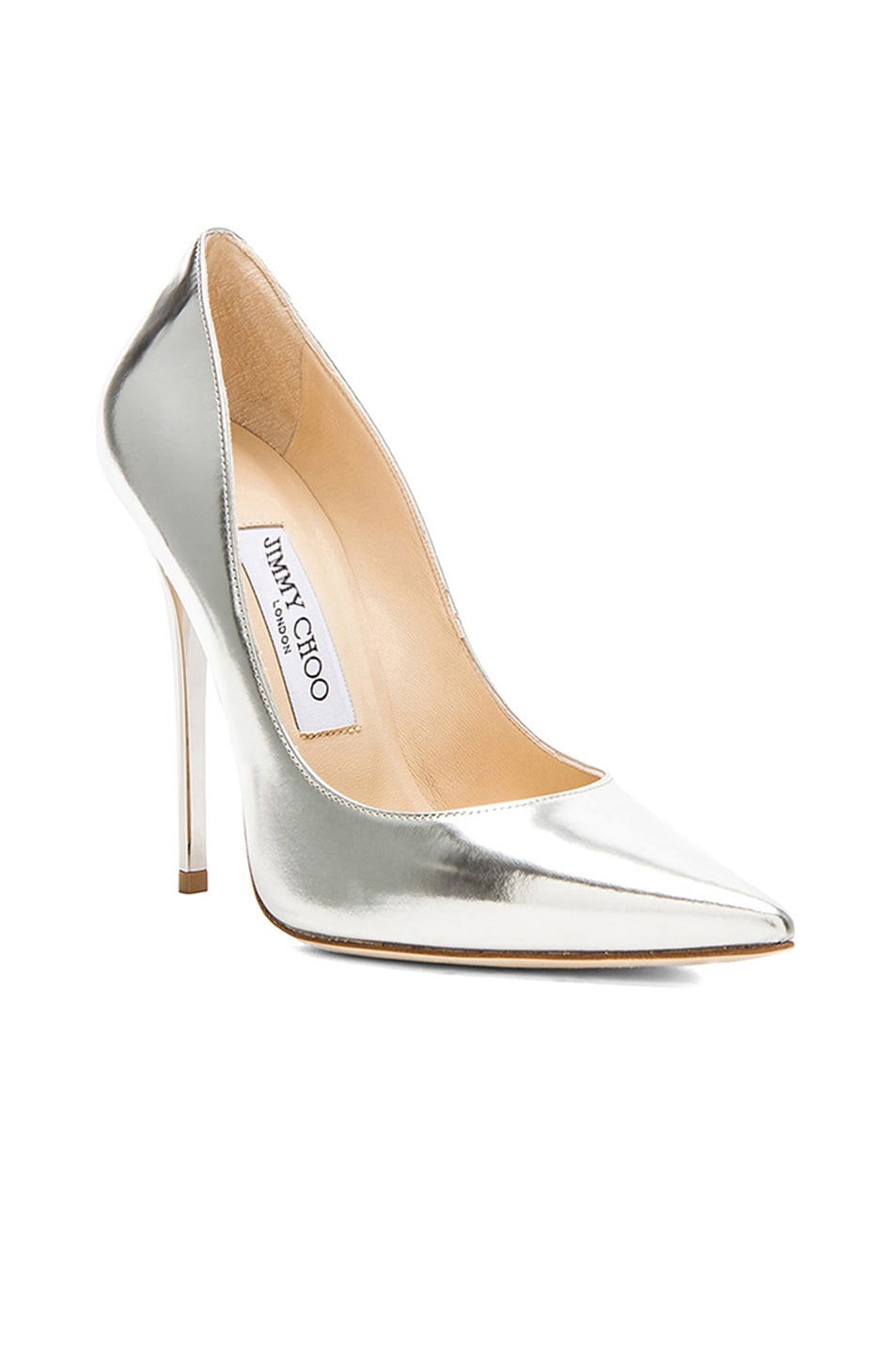 Image 2 of Jimmy Choo Anouk 120 Mirror Leather Pumps in Silver