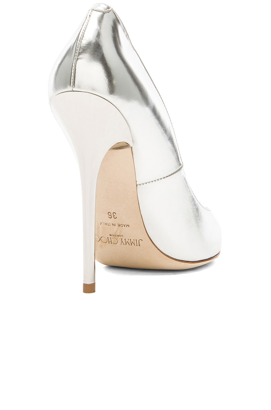Image 3 of Jimmy Choo Anouk 120 Mirror Leather Pumps in Silver