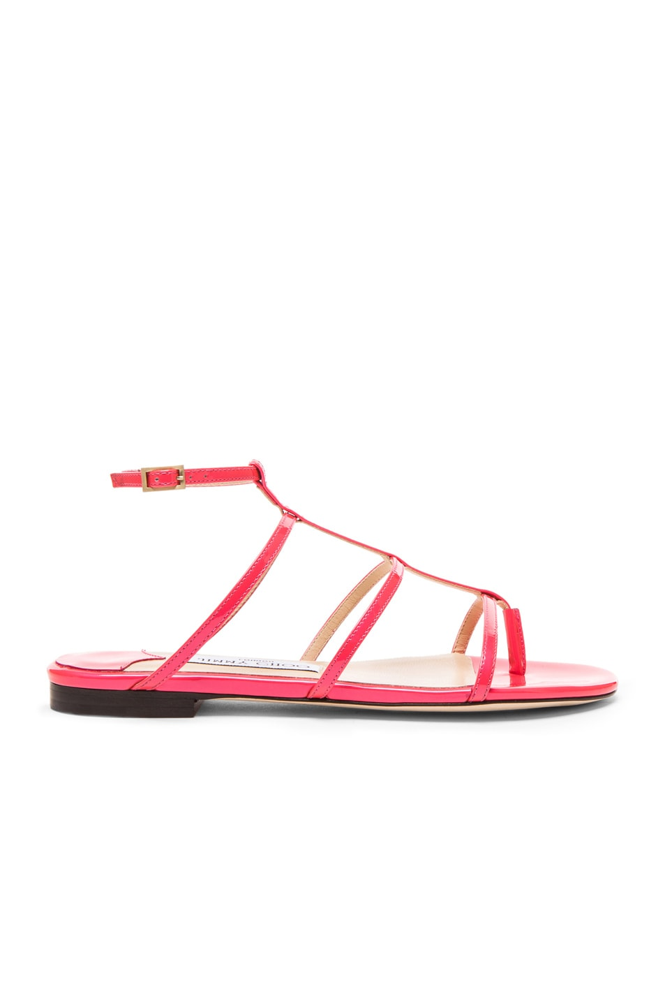 0765fea160952 Image 1 of Jimmy Choo Doodle Patent Leather Thong Sandals in Geranium