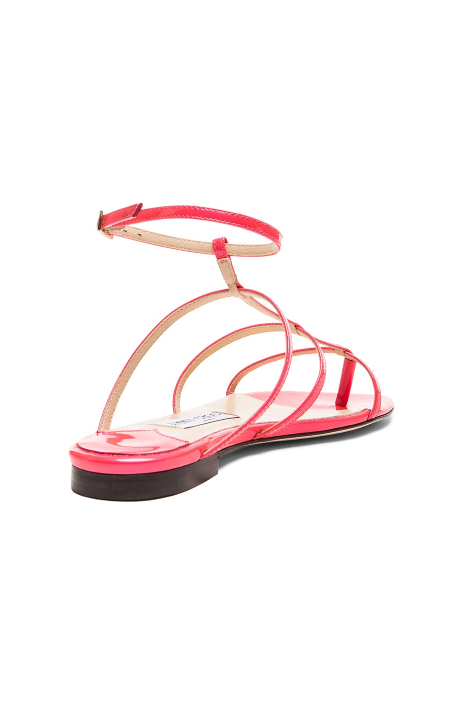 6a7030555b86c Image 3 of Jimmy Choo Doodle Patent Leather Thong Sandals in Geranium