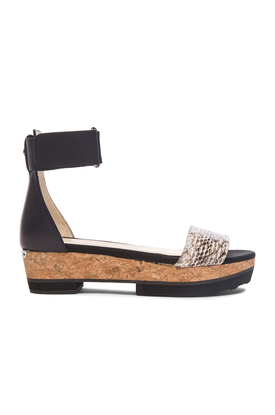 Image 1 of Jimmy Choo Neat Snakeskin and Grosgrain Sandals in Black & Natural