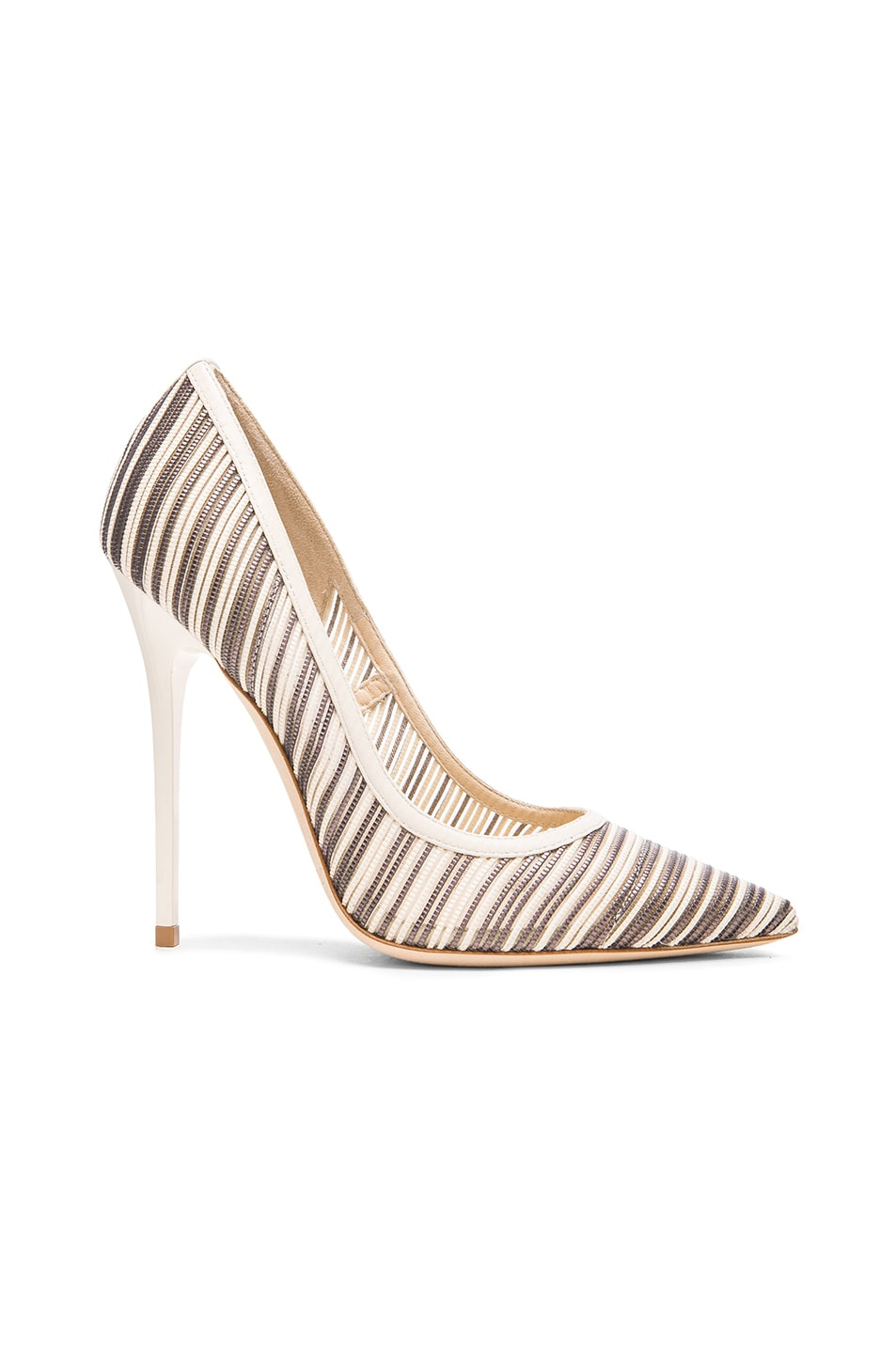 Image 1 of Jimmy Choo Metallic Anouk Mesh Pumps in Off White Mix