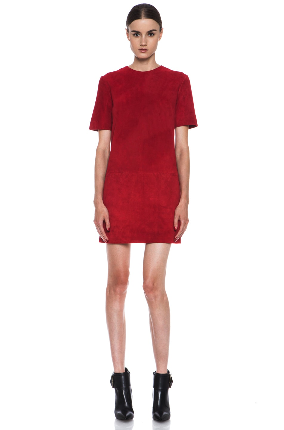 Image 1 of Jenni Kayne Suede Shirt Dress in Scarlet