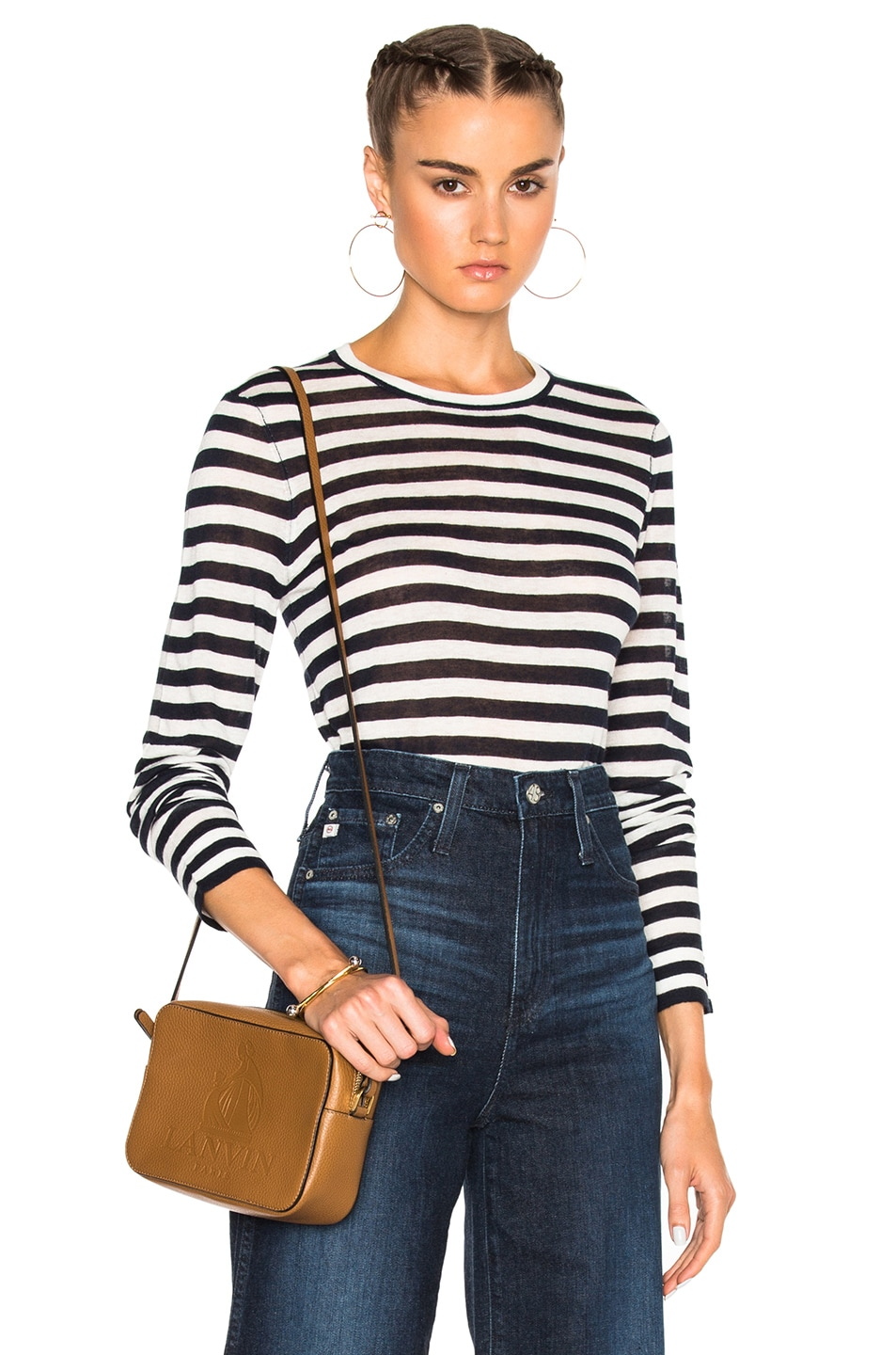 Image 1 of Jenni Kayne Cropped Crew Sweater in White & Navy