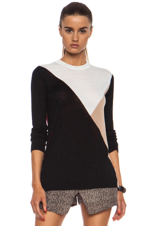 Image 1 of Jenni Kayne Block Merino Wool Sweater in Red, White, Black & Nude
