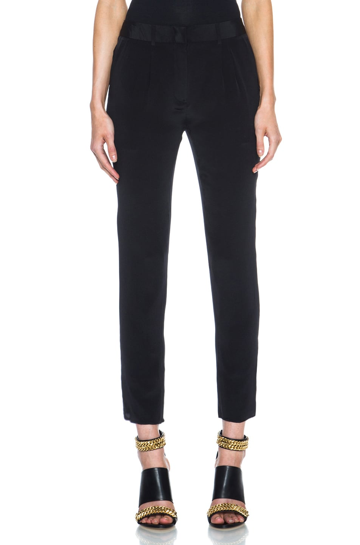 Image 1 of Jenni Kayne Pleated Silk Pant in Black