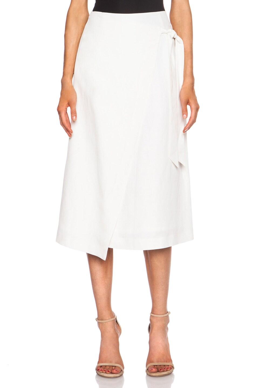 Image 1 of Jenni Kayne Wrap Silk-Blend Skirt in White