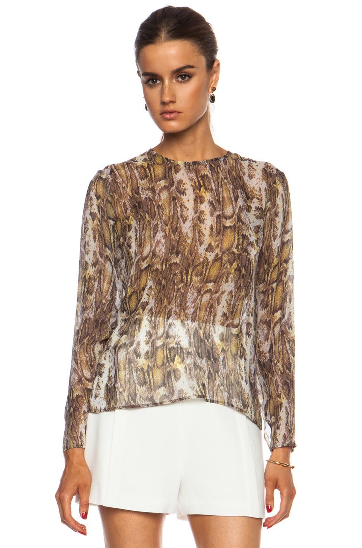 Image 1 of Jenni Kayne Shirred Neck Blouse in Grey Multi