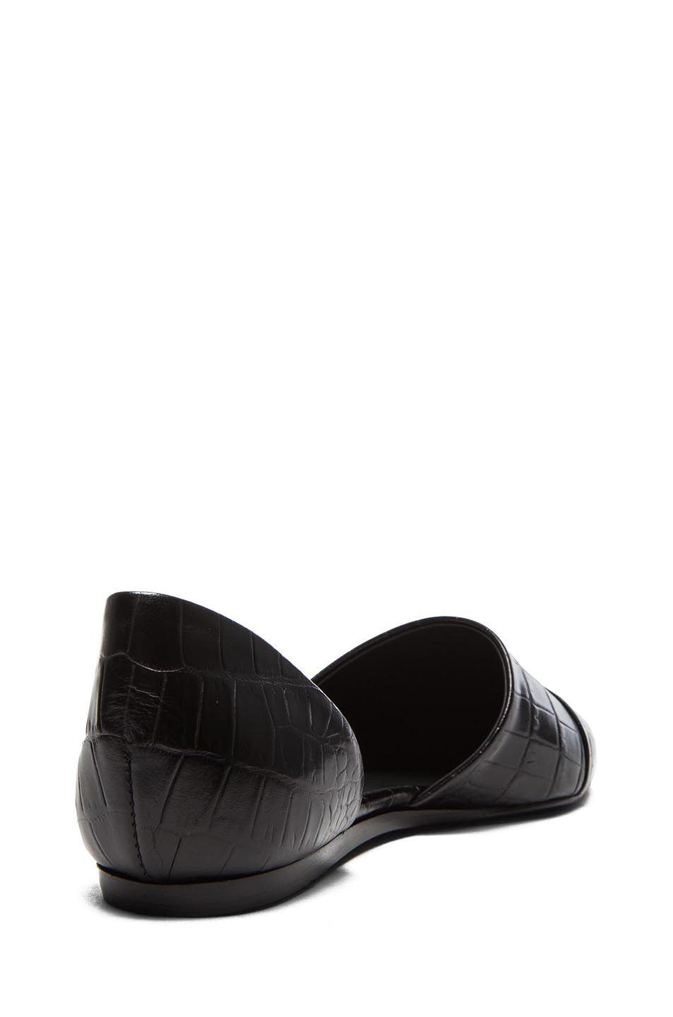Image 3 of Jenni Kayne D'Orsay Croc Embossed Leather Flats in Black