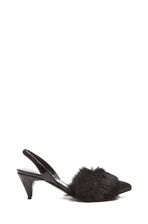 Image 1 of Jenni Kayne Leather & Fur Slingback Slippers in Black