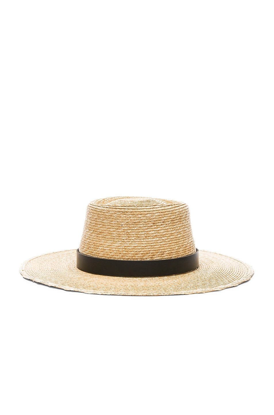 Image 3 of Janessa Leone Ruth Boater Hat in Natural & Black