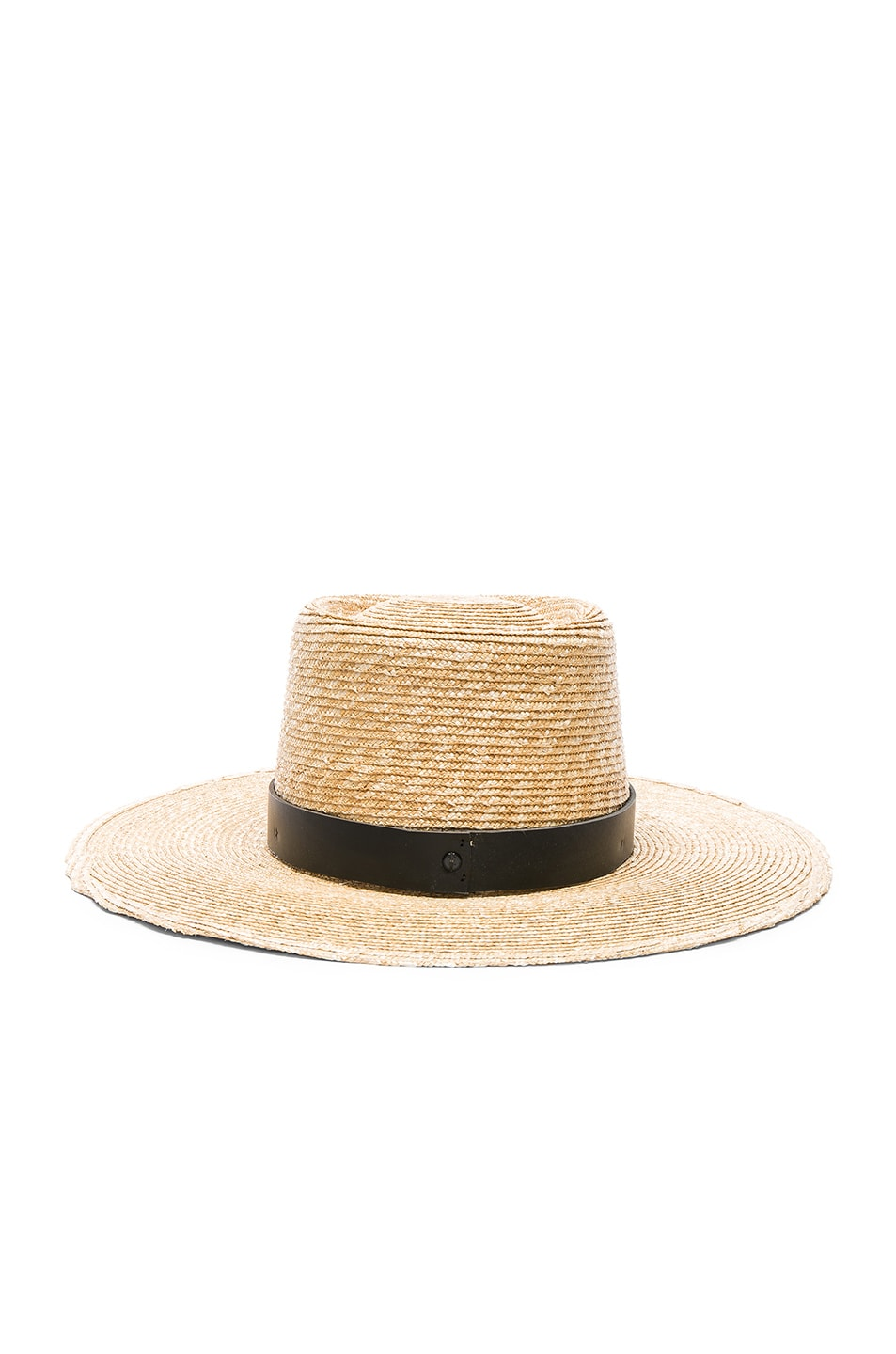 Image 4 of Janessa Leone Ruth Boater Hat in Natural & Black