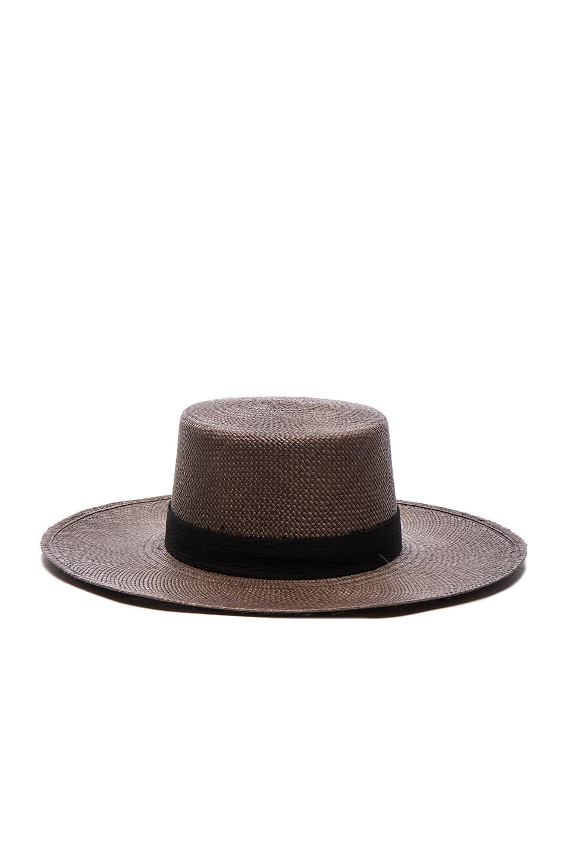 Image 1 of Janessa Leone FWRD Exclusive Bernt Hat in Java & Black