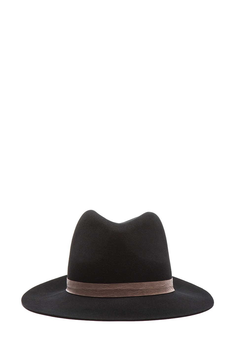 Image 1 of Janessa Leone Exclusive Rhonda Wool Felt Hat with Brown Trim in Black