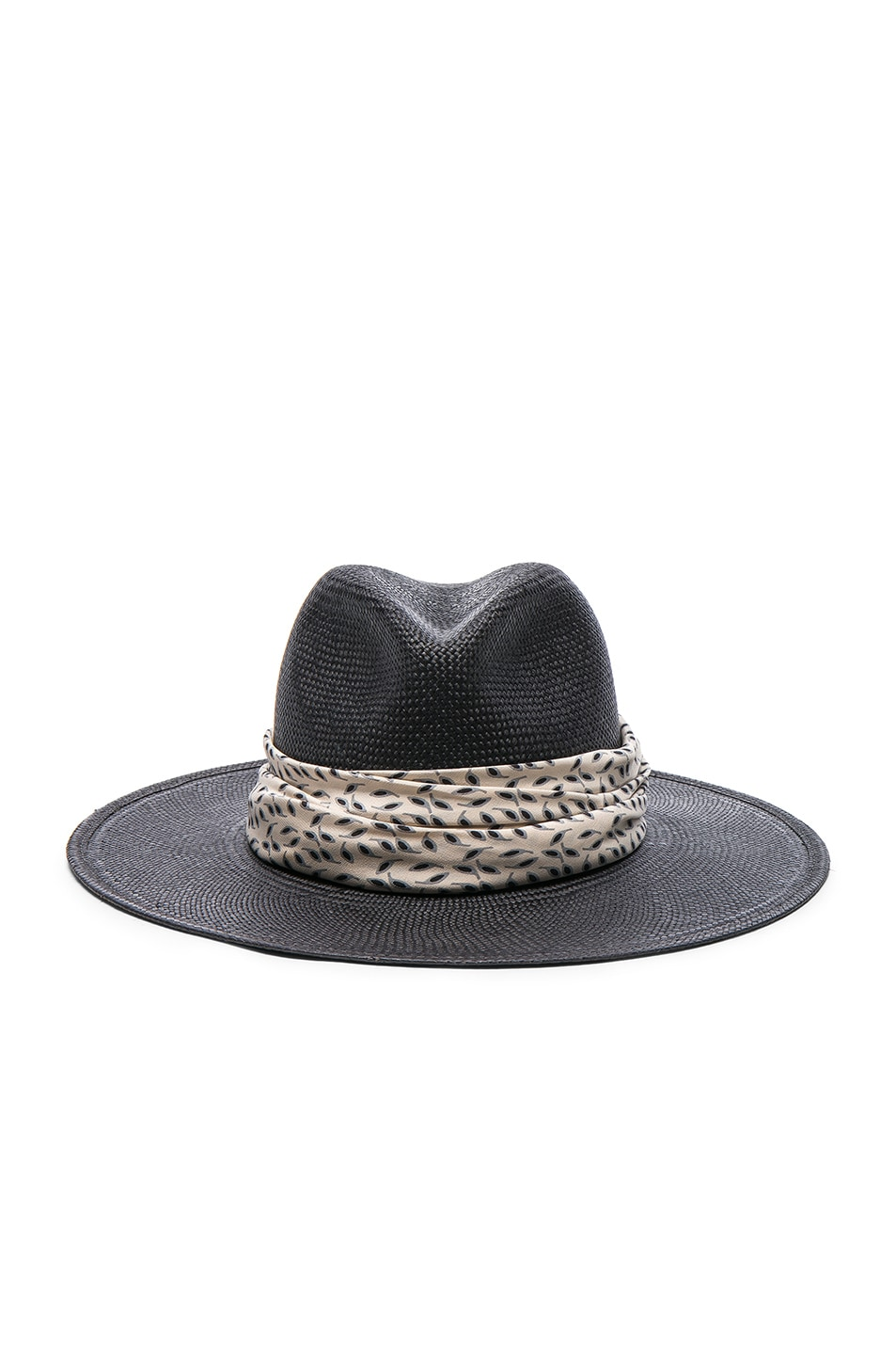 Image 1 of Janessa Leone Josephine Short Brimmed Panama Hat in Black