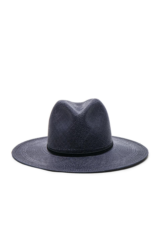 Image 1 of Janessa Leone Morgan Short Brimmed Panama Hat in Navy