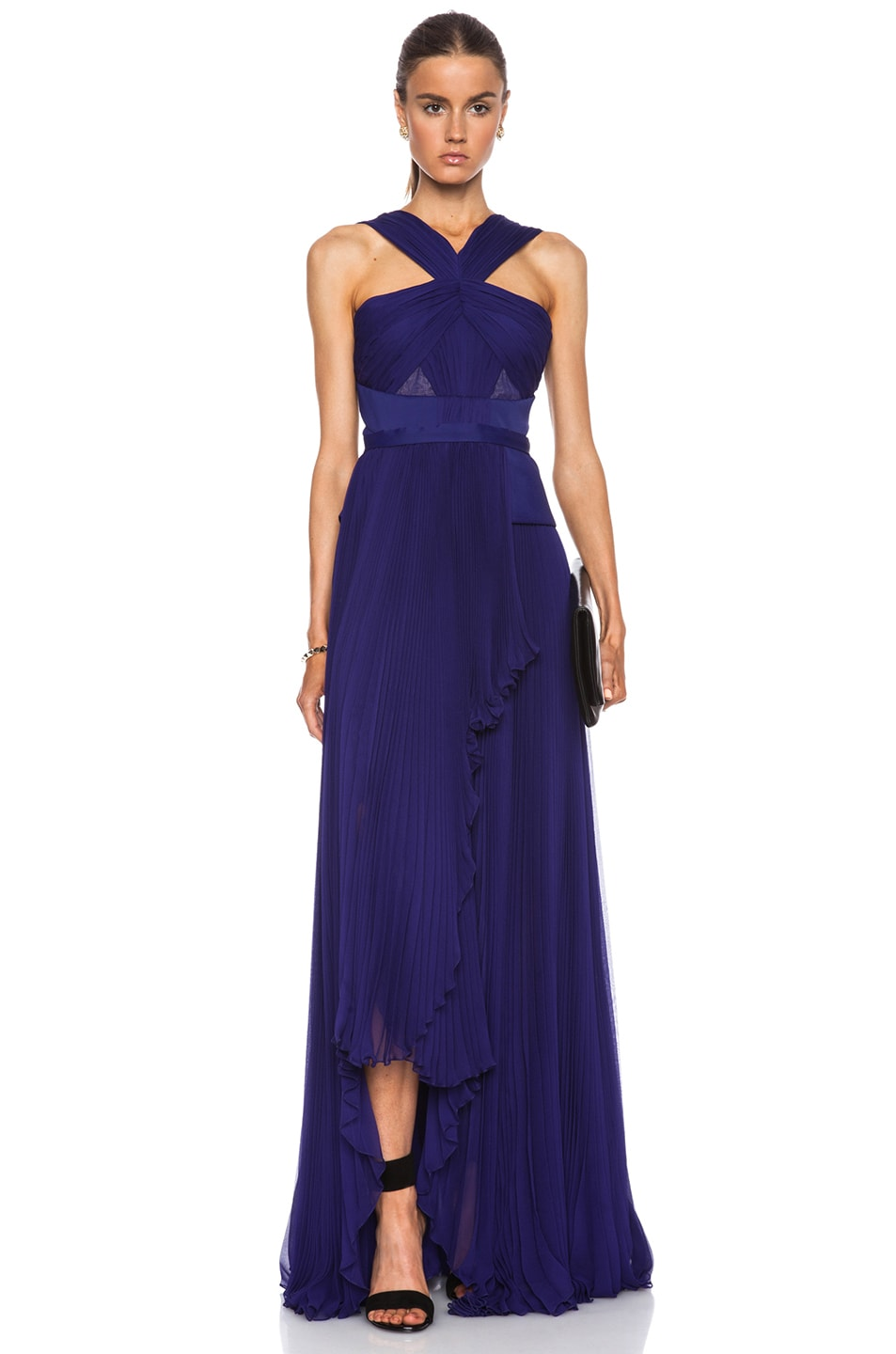 Image 1 of J. Mendel Cut Out Halter Gown in Imperial Blue
