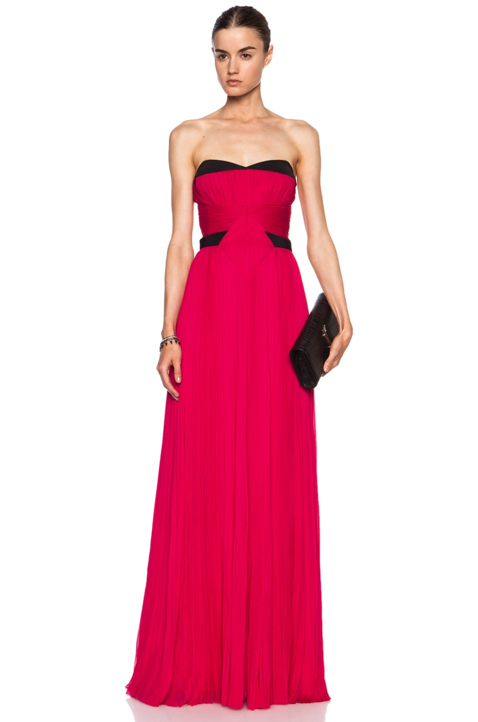 Image 1 of J. Mendel Cutout Silk Gown in Fuchsia