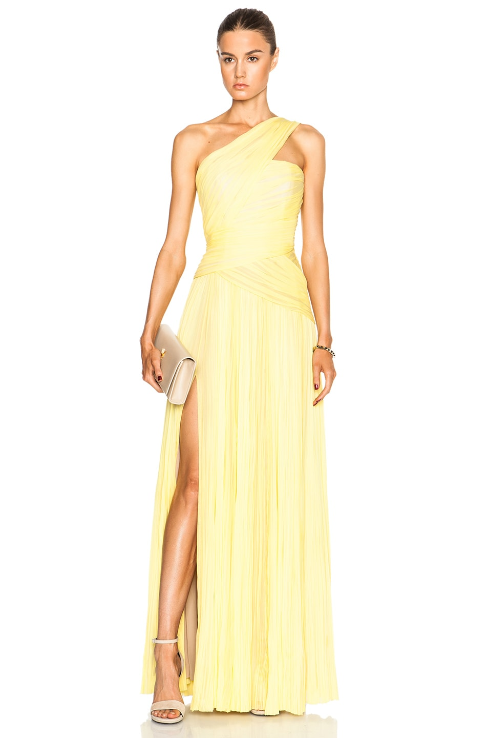 Image 1 of J. Mendel One Shoulder Draped Gown in Yellow Cab