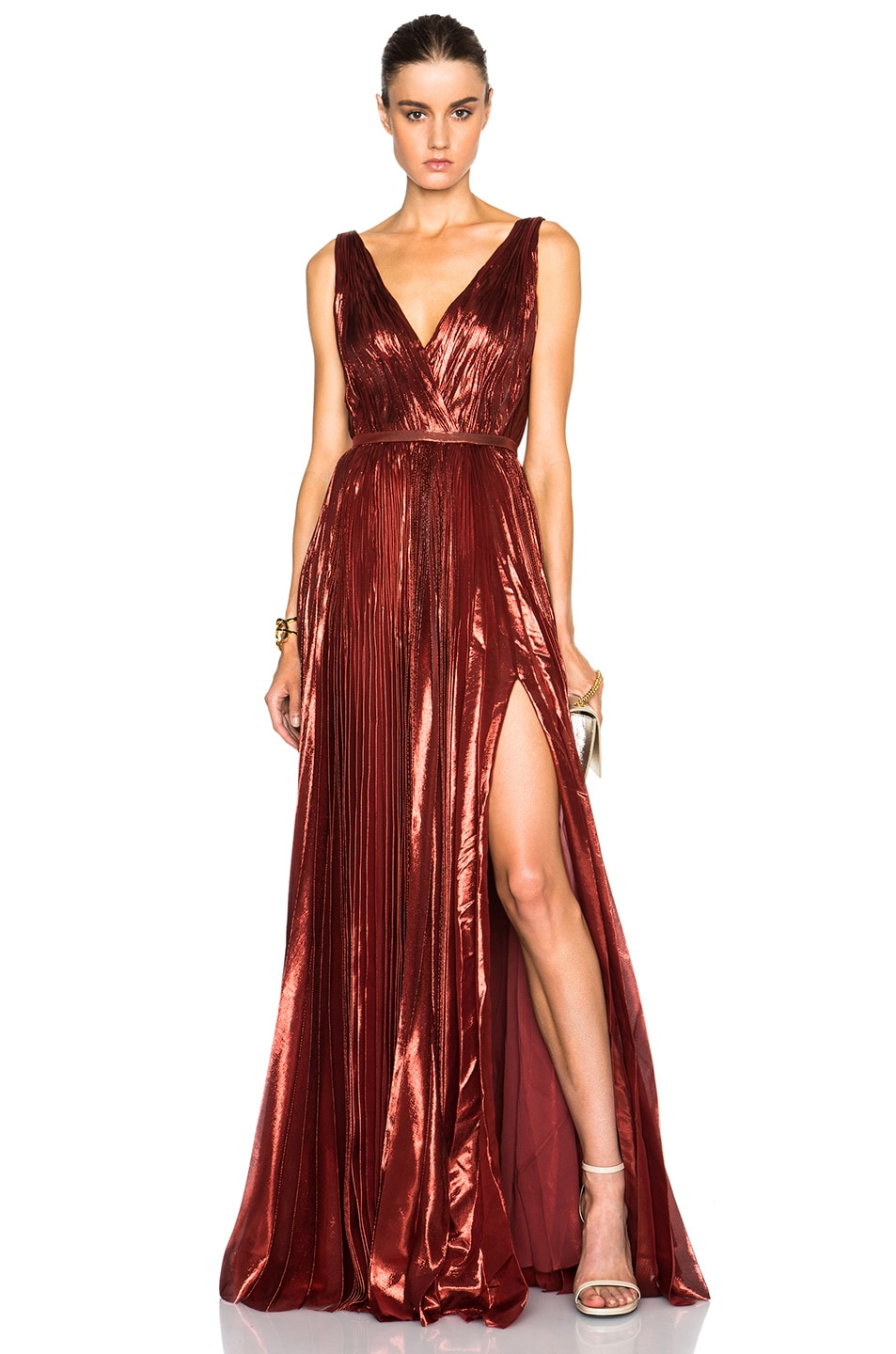 Image 1 Of J Mendel Lurex Chiffon Deep V Neck Gown In Burnt Orange
