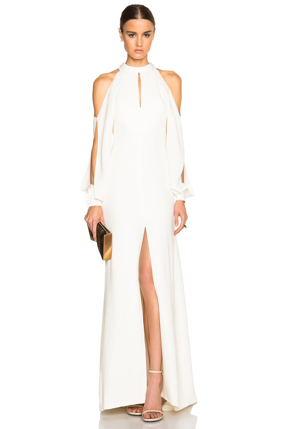 Image 1 of J. Mendel Crepe High Neck Gown with Cutaway Sleeves in Ivory