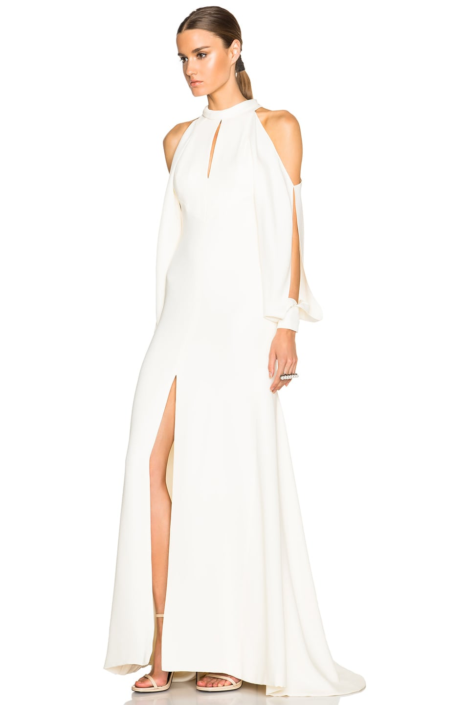 Image 2 of J. Mendel Crepe High Neck Gown with Cutaway Sleeves in Ivory