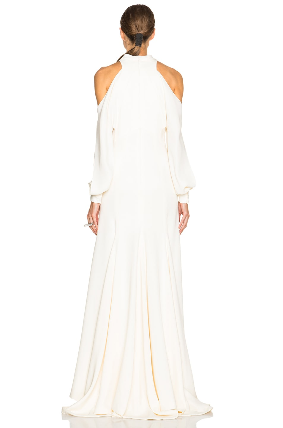 Image 4 of J. Mendel Crepe High Neck Gown with Cutaway Sleeves in Ivory