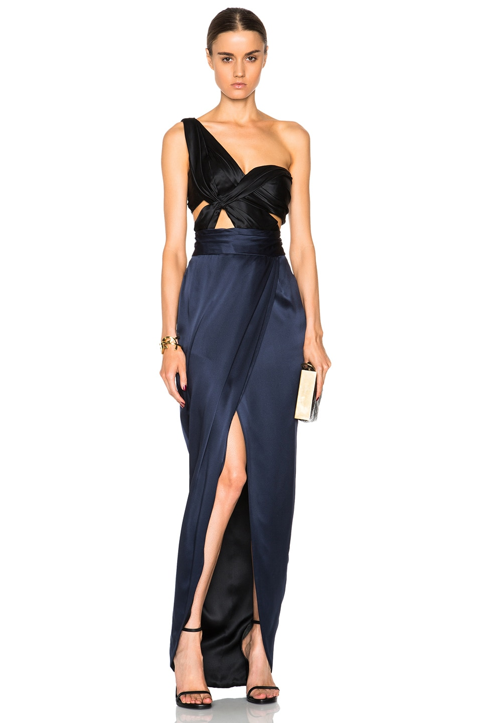 J. Mendel One Shoulder Drape Charmeuse Gown in Black & Navy | FWRD
