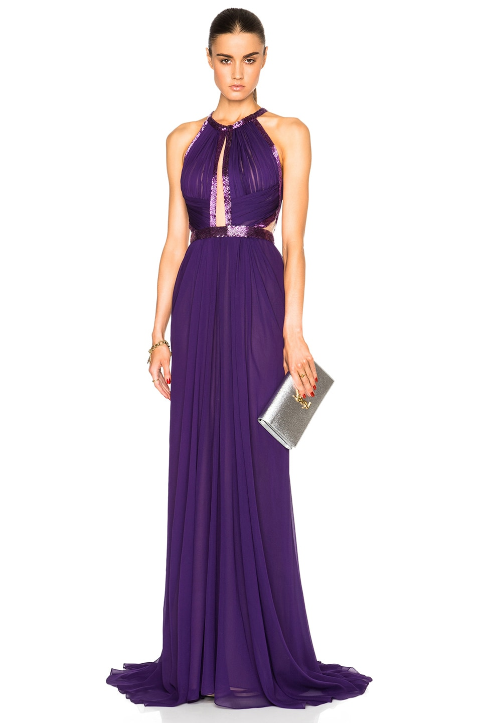 Image 1 of J. Mendel Silk Chiffon Halterneck Gown in Deep Lilac