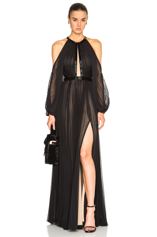 Image 1 of J. Mendel Silk Chiffon Halterneck Long Sleeve Gown in Black